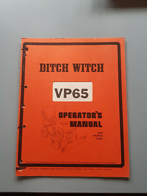 Ditch Witch VP65 Operators Manual and Parts List