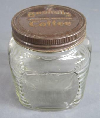 Vintage art deco glass Bushells jar -original embossed metal lid kitchenalia