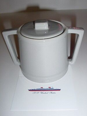 """SS UNITED STATES LINES  """"Hall"""" Sugar Bowl  /  Gray-Style China  /  Perfect Cond."""