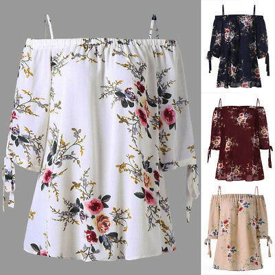 Fashion Womens Sexy Plus Size Half Sleeve Print Cold Shoulder Blouse Casual Tops