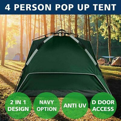 4 Person Tent Double Layer Instant Auto Pop Up Camping Hiking Sun Shelter Green