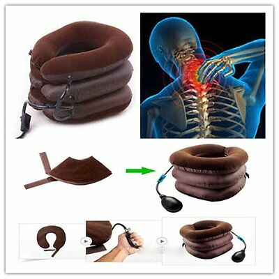 Air Inflatable Pillow Cervical Neck Head Pain Traction Support Brace Device GE