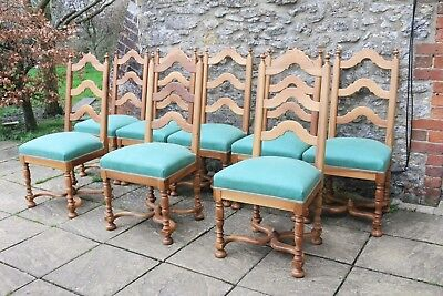 8 Stunning French Antique Solid Walnut Ladder Back Country Dining Chairs c1920