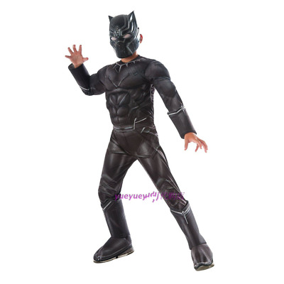 Kids Boys Black Panther Superhero Costume Complete Outfit child birthday gifts