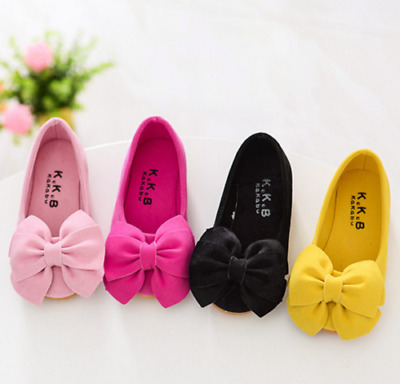 Children Toddler Kid Flower Shoes Princess Girls Shoes Bow Flat Dress Party  UK
