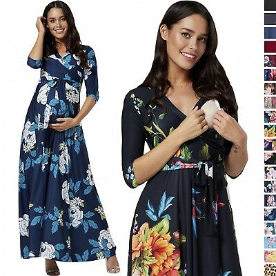 Happy Mama. Women's Maternity Nursing Maxi Dress 3/4 Sleeves Double layered 608p
