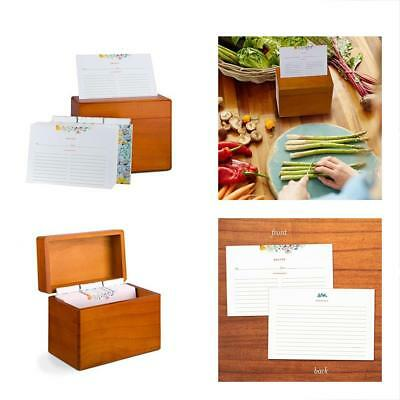 Recipe Box With 100 4x6 Floral Cards And Dividers. Classic Style Maple Wood Box,