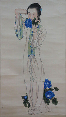 Excellent Chinese 100% Hand Painting & Scroll Beauty By Zhang Daqian 张大千 JNZQL69