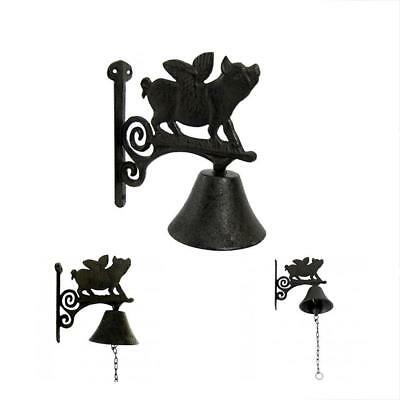 Rustic Metal Wall Mount Flying Pig Door Call Bell Farm Garden Yard Patio Decor