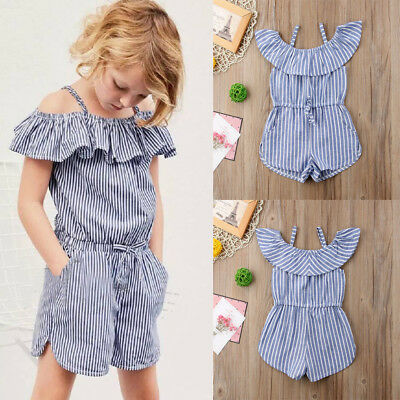 US Pretty Toddler Kids Girls Stripe Bodysuit Romper Jumpsuit Clothes Outfit 1-6Y