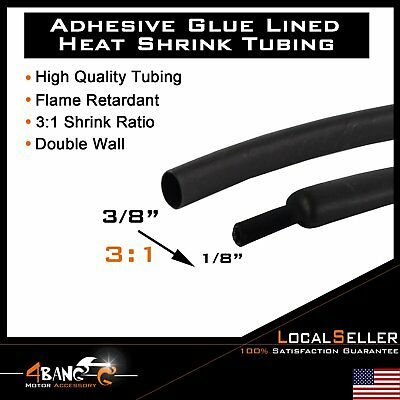 """3:1 Heat Shrink Tubing Tube Cable 3/8"""" 9mm Polyolefin 10 FT.Black US"""