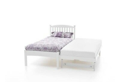 Serene Eleanor 3FT Single 90cm Low Foot End Hevea Bed with Guest Bed-Opal White