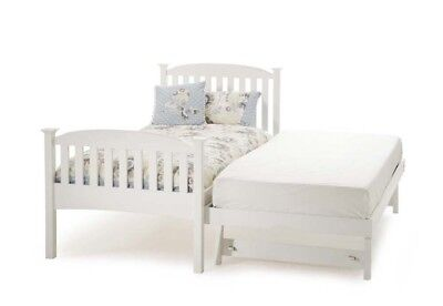 Serene Eleanor 3FT Single 90cm High Foot End Hevea Bed with Guest Bed-Opal White