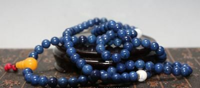 China Collectibles Handwork Old lapis lazuli Toyed Prayer Bead Necklace