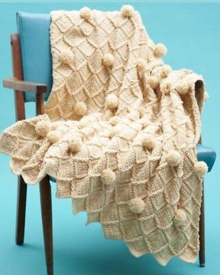 Crochet pattern baby swaddle throw rug blanket lattice and pom poms