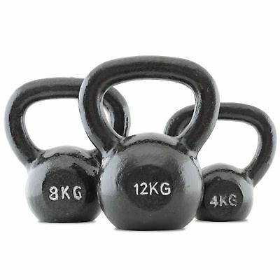 Bodymax Cast Iron Kettlebell Set C: 4Kg, 8Kg, and 12Kg