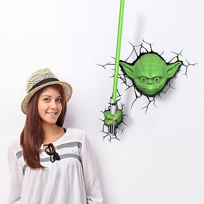 Star Wars Lampara de Pared 2 Jedi Master Yoda y Espada Iluminación Decoración