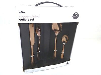 Wilko 16 Piece Copper Plated Cutlery Set Stainless Steel Spoons Forks NEW