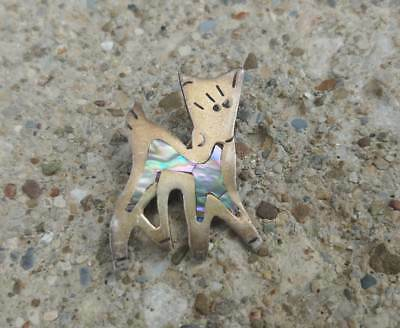 Vintage Abalone Inlay Brooch - Cat or Dog - Mexican Jewelry - Animal related