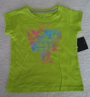 """Nike Little Girls' """"Born With It"""" Cotton Yellow Tee - Size 2T - NWT"""