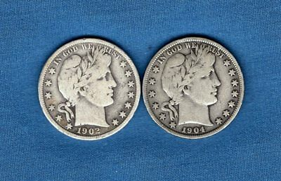 Lot of 2: 1902P 1904P Barber Half Dollars Better Grade 90% Silver Free Shipping!