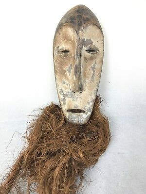 African Tribal Art KWELE Congo Wooden Bearded Mask