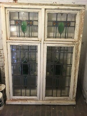 Leaded Window Stained Glass 1930's 4 Units