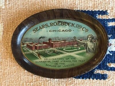Vintage SEARS ROEBUCK Chicago Advertising Oval Metal Tip Tray Scales Of Justice