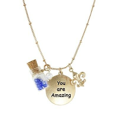 NEW Goldtone Inspirational You Are Amazing Blue Vial Charm Pendant Necklace