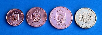 1 + 2 + 5 + 10  Euro - Cent  Lettland 2014