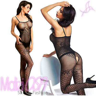 Bodystocking Catsuit Tutina a Rete Aperta lingerie Intimo Body Sexy Nylon Hot