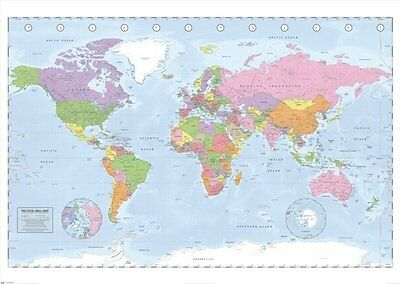 MAP of the world GIANT poster 100cm x 140cm GPW6001 WALL CHART MAP LARGE
