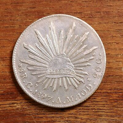 Raw 1897 Mexico CN AM 8R Mexican Silver 8 Reales Coin