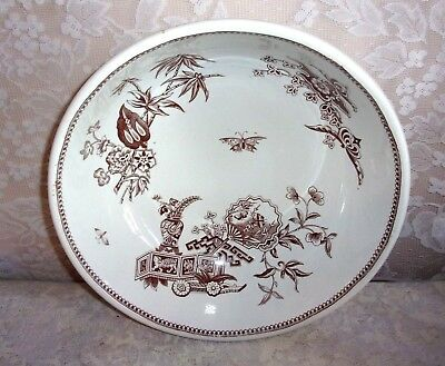 "1878 T. Elsmore & Son ""Oriental"" Aesthetic Movement Sepia 14 Inch Wash Bowl"