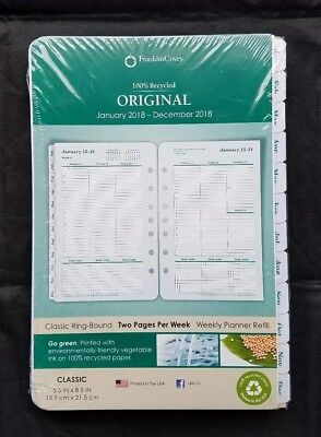 Franklin Covey Original Classic Weekly Planner Refill 2018 Two Pages per Week