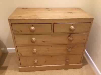 Antique Chest Of Drawers (Stripped Pine)