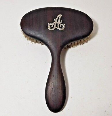 "Antique Edwardian Ebony Hair Shine Brush Sterling Silver Initial Letter ""a"" 1925"