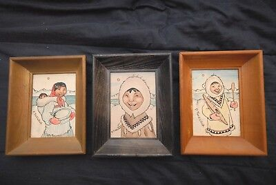 "Lot of 3 P.TUCKICHUK ESKIMO PAINTINGS ON LEATHER - 7x5"" - STRETCHED AND SKETCHED"