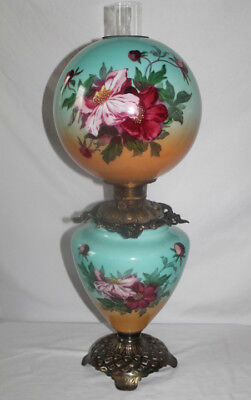 """Antique Hand Painted Gone with the Wind Oil Lamp with WILD ROSES ~RARE 12"""" Shade"""