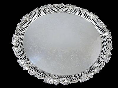 """Antique LARGE SILVERPLATE FOOTED ROUND TRAY Pierced Grape & Vine 14"""""""