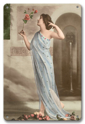Red Rose Beauty French Nude Mante 1910s - 8in x 12in Vintage Metal Sign