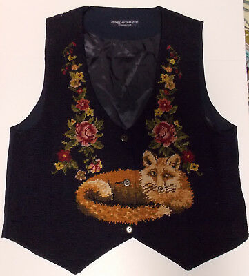 Needlepoint Hand Stitched Fox Eagle's Eye Roses Vest Navy Blue Medium
