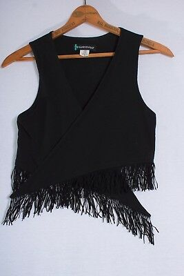 "Boho Hippie Fringed ""Weaver"" Festival & Going Out Black Knit Super Vest Cover Up"