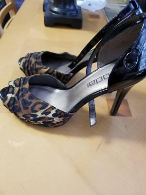 4a5cf0db0e0c MODA SPANA Womens Leather Shoes Size 8M Black Patent Leather   Leopard Heels