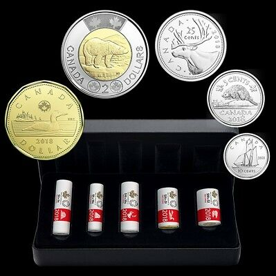 •☆• CANADA 2018 COMPLETE SPECIAL WRAP ROLL COIN SET (BU from mint set roll) •☆•