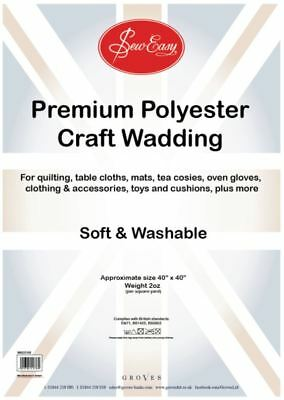Poly Wadding: 2oz: 100 x 100cm/40in Square Polyester Washable EN71 Quilt/Toys