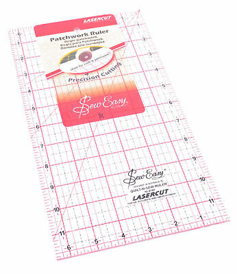 "Patchwork Ruler 12"" x 6.5"" Rectangle Rule Sew Easy Quilting Sewing Basic Cutting"