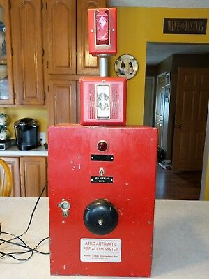 VINTAGE FIRE ALARM Panel With Bell And Strobes Works Gamewell Pull on