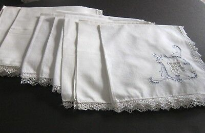 Set of 12 Antique Italian Linen Napkins Rose Filet Lace~Cut work~ Embroidery