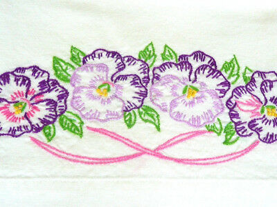 Vintage Pillow Case Embroidered Purple Pansy White Crochet Lace Cottage Chic